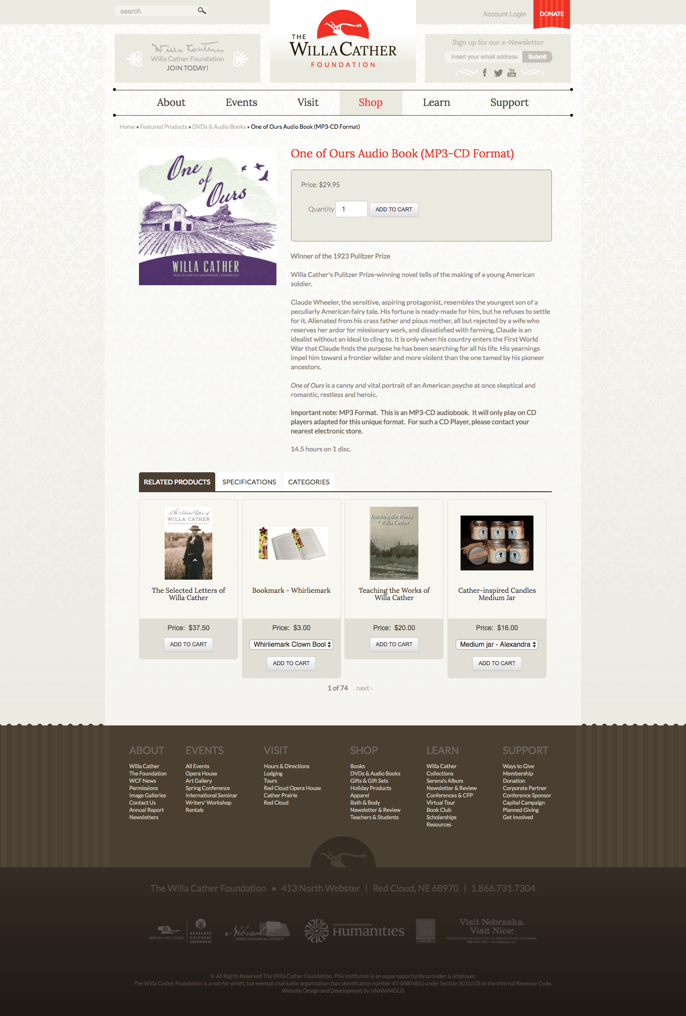 The Willa Cather Foundation Unanimous Web Design