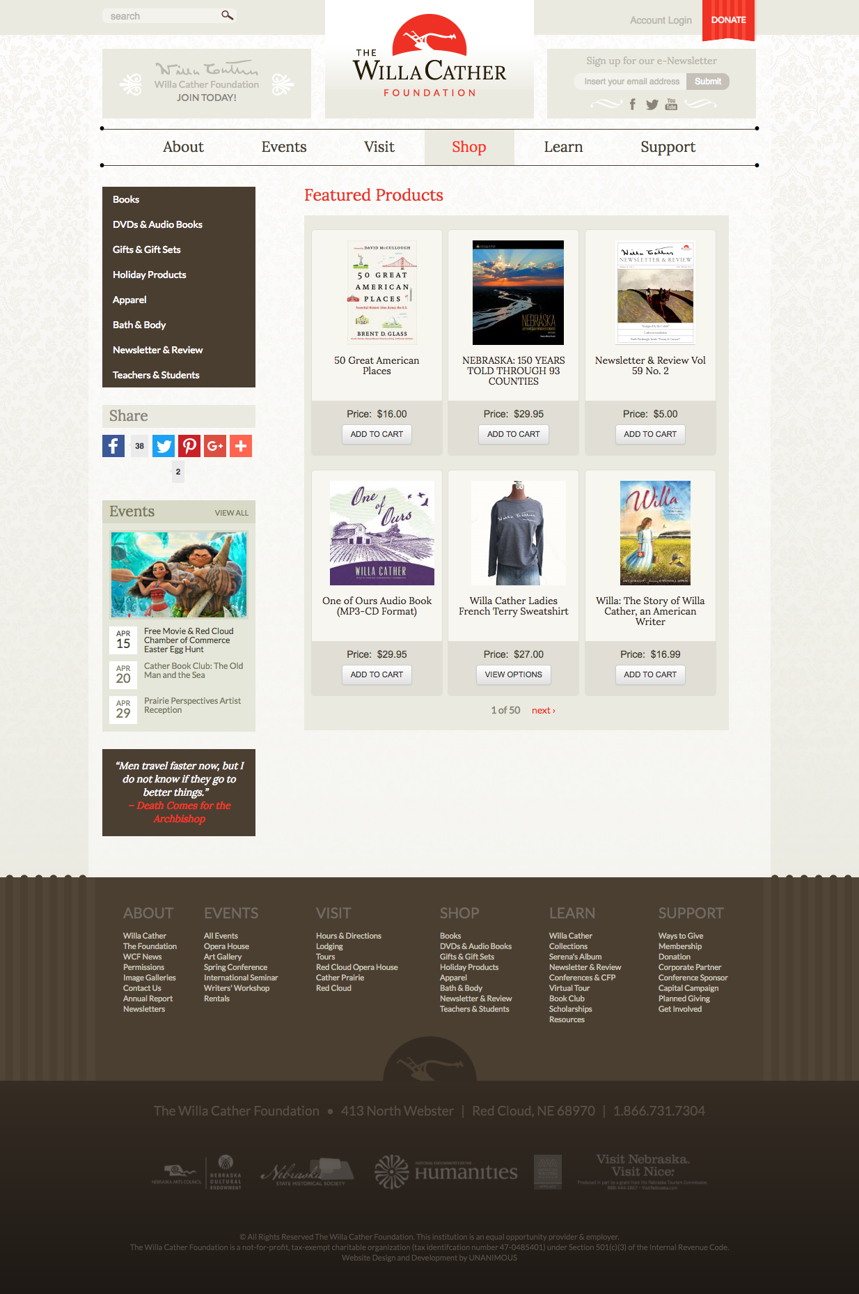 The Willa Cather Foundation UNANIMOUS Branding Marketing - Willa cather us map